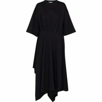 バレンシアガ Balenciaga レディース ワンピース Tシャツワンピース ワンピース・ドレス pleated t-shirt dress Black