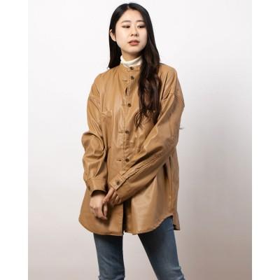 リシェグラマー Riche glamour 合皮スタンドカラーシャツジャケット (ベージュ)
