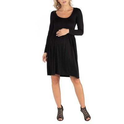 24セブンコンフォート ワンピース トップス レディース Knee Length Pleated Long Sleeve Maternity Dress Black