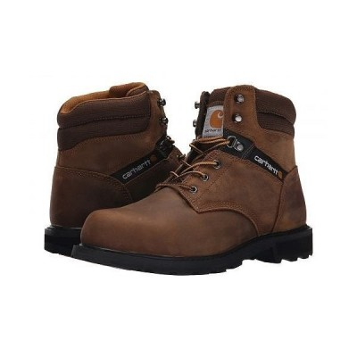 """Carhartt カーハート メンズ 男性用 シューズ 靴 ブーツ 安全靴 ワーカーブーツ Traditional Welt 6"""" Steel Toe Work Boot - Crazy Horse Brown Leather"""