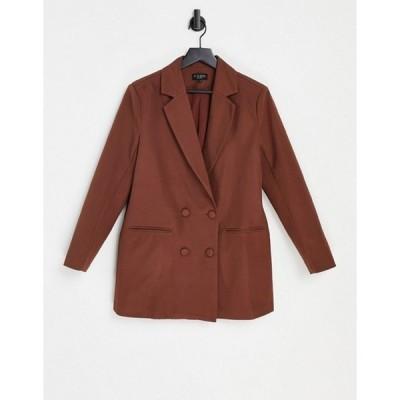 インザスタイル レディース ジャケット・ブルゾン アウター In The Style x Naomi Genes oversized fit double breasted blazer in chocolate