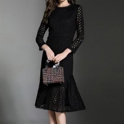 [送料無料] ドレス レディース ブラック フリルスカート フォーマル レース 刺繍 シースルー 結婚式 パーティー 二次会