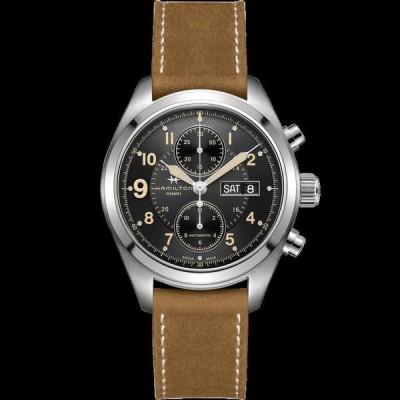 ハミルトン 腕時計 New Hamilton Khaki Field Auto Chrono Black Dial Leather Band Men Watch H71616535