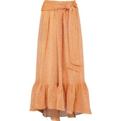 リサ マリー フェルナンデス Lisa Marie Fernandez レディース ひざ丈スカート スカート Nicole linen-blend gauze midi skirt Orange Organic Guaze