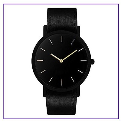 South Lane Stainless Steel Swiss-Quartz Watch with Leather Calfskin Strap, Black, 20 (Model: SS20-dr1-4874)