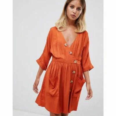 エイソス ワンピース casual mini dress with pocket & side buttons Rust