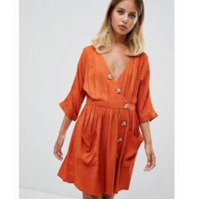 エイソス ワンピース casual mini dress with pocket & side buttons Rust