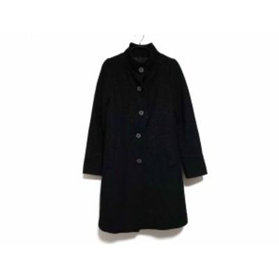 マリークワント MARY QUANT コート サイズM レディース 黒 冬物/ラメ/ツイード【中古】20200116