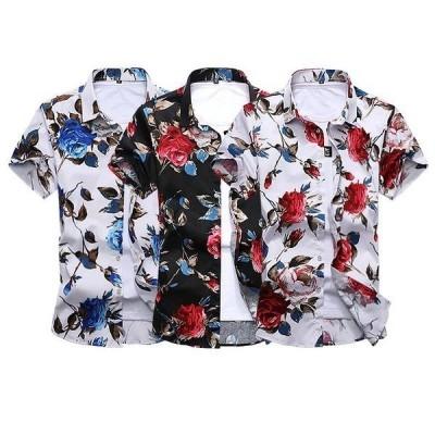 シャツメンズカジュアルシャツメンズ半袖花柄トップスアウトドア春物薄てシャツ大きいサイズストレッチアメカジM?7XL春夏