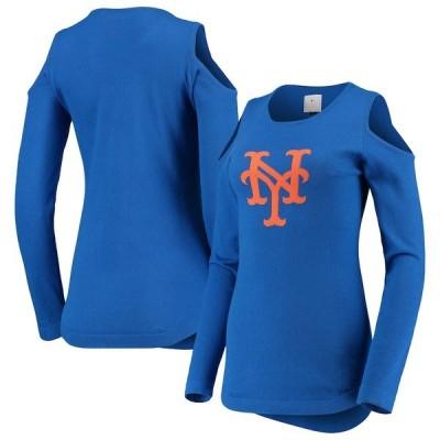 フォコ シャツ トップス レディース New York Mets Women's Logo Cold Shoulder Sweater Royal