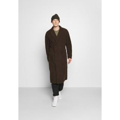 アナザーインフルエンス メンズ コート アウター ARIES BORG LONGLINE OVERCOAT - Classic coat - brown brown