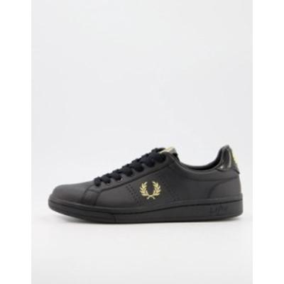 フレッドペリー メンズ スニーカー シューズ Fred Perry B1251 leather sneakers in black/gold Black