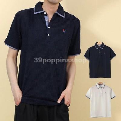 ポロシャツ カットソー 半袖 おしゃれ ゴルフ スポーツ 無地 ワンポイント 刺繍 2枚衿 サッカー生地 ユニセックス トップス メンズ