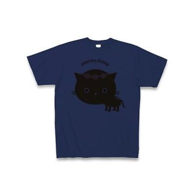 ヒッピーねこ Tシャツ(ジャパンブルー)