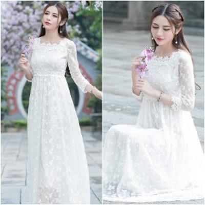 ウェディングドレス 白 二次会 披露宴 ワンピース ロング丈 ドレス 七分袖 花柄 レース ハイウエスト プリンセス