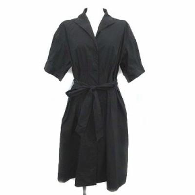 【中古】ナラカミーチェ NARA CAMICIE シャツ ワンピース ロング 半袖 比翼ボタン 3 L 黒 ブラック レディース
