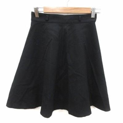 【中古】ルビーリベット Rubyrivet フレアスカート ミニ ウール 36 黒 ブラック /MS レディース
