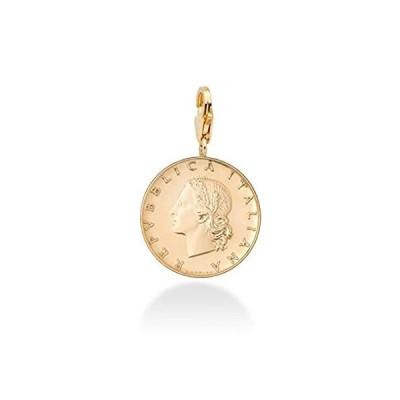 Miabella 18Kゴールドオーバー スターリングシルバー 本物のイタリア製 20-リラ コイン ダングル メダリオン チャーム ペンダント ブレ
