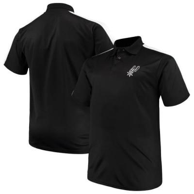 ユニセックス スポーツリーグ バスケットボール San Antonio Spurs Majestic Big & Tall Birdseye Polo - Black/White Tシャツ