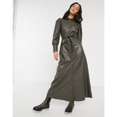 エイソス レディース ワンピース トップス ASOS DESIGN Leather look maxi shirt dress in olive Olive