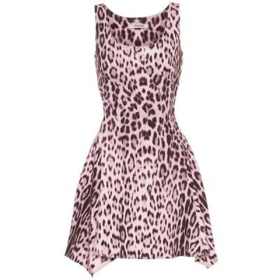 ロベルト カヴァリ Roberto Cavalli レディース ワンピース ワンピース・ドレス Leopard-print denim minidress Cherry Blossom/Black