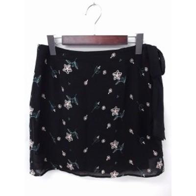 【中古】スナイデル snidel スカート シフォン 刺繍 台形 ミニ ジップ 1 ブラック 黒 /FT42 レディース
