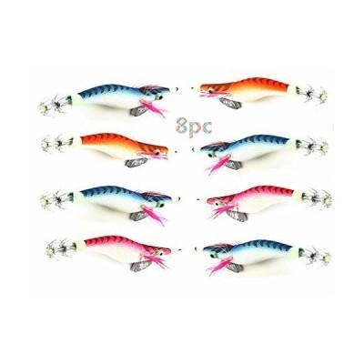 Toasis Fishing プラスチックハードルアー エビ 発光 エビ イカ ジグ フック カトルフィッシュ タコ用 8個パック