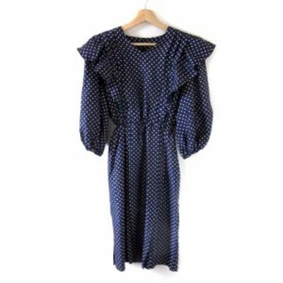 【中古】ユキトリイ YUKI TORII ワンピース ドレス ドット 肩フリル ボリューム袖 ネイビー IBS63 MDM レディース