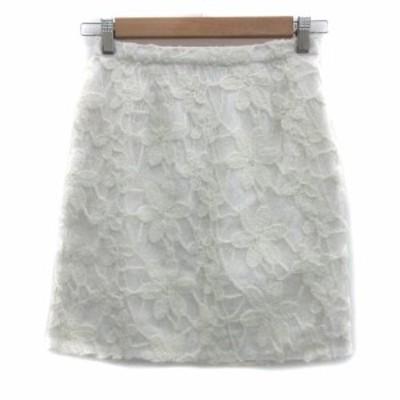 【中古】リランドチュール Rirandture スカート 台形 ミニ丈 花柄 1 白 ホワイト アイボリー /YS18 レディース