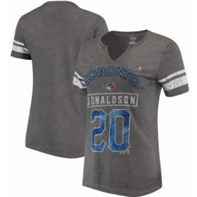 Majestic マジェスティック スポーツ用品  Majestic Josh Donaldson Toronto Blue Jays Womens Gray Knucklecurve V-Notch T-Shirt