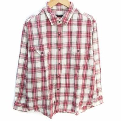 【中古】ジャーナルスタンダード シャツ カジュアル 薄手 長袖 透け感 チェック柄 F ライトベージュ 赤 /FF32 メンズ