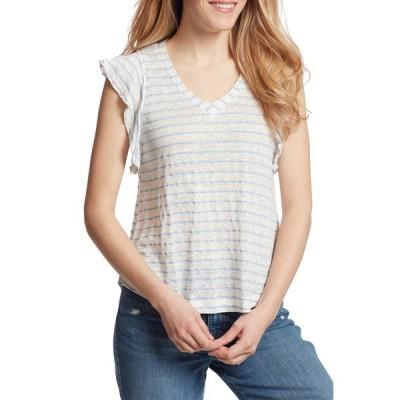 エラモス レディース Tシャツ トップス Gemma Stripe Linen Blend Shirt SERENITY STRIPE