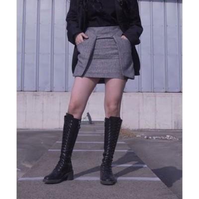 スカート 【DUCKDIVE 】FRONT PK HERRINGBONE MINI SKIRT / フロントポケット ヘリンボーンミニスカート