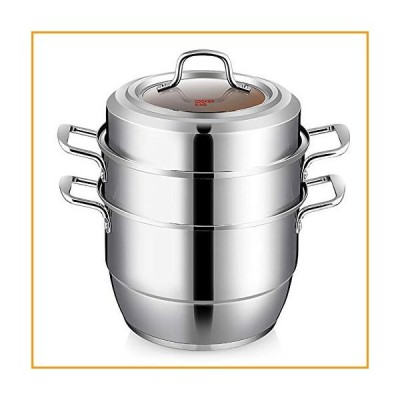 [新品]Cooker King Stainless Steel 3-Tier Food Steamer Cooking Pot with Tempered Glass Lid, Work with Gas, Electric, Grill Stove Top, 3