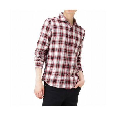 【マックハウス】 MOSSIMO モッシモ オンブレチェックシャツ 0470−6411 メンズ レッド L MAC HOUSE
