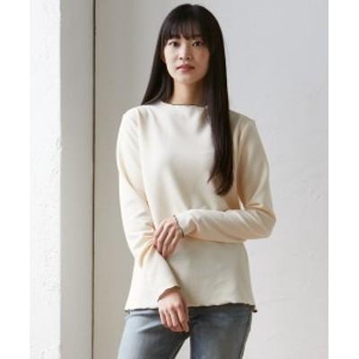Tシャツ カットソー 大きいサイズ レディース 配色 メロウ プルオーバー アイボリー系/黒 LL/3L ニッセン