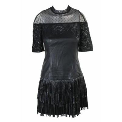 GUESS ゲス ファッション ドレス Guess Negro Azabache Rosalynn Cuello Mock Mixed-Media VESTIDO S