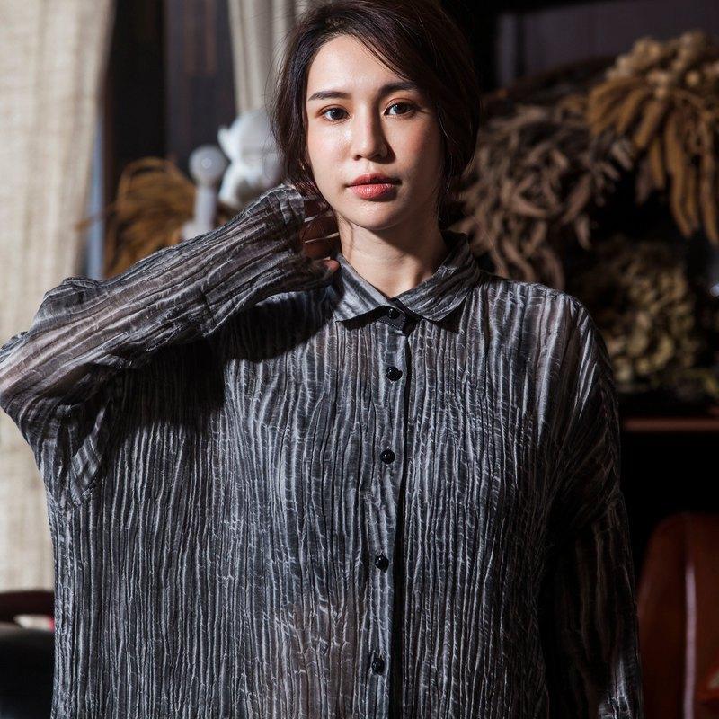 麻100%PLANT FIBER天然纖維 長袖長版襯衫OP_CD010