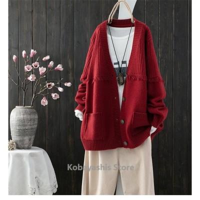 カーディガン ニット セーター コーディガン レディース 羽織 ブラウス ショート丈 無地 長袖 カーデ ゆったり 春 夏 体型カバー 大きいサイズ