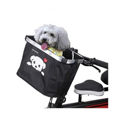 HOTOWON 自転車バスケット ブラック 小型ペット 猫 犬 折りたたみキャリアバスケット レディース メンズ クイックリリース 取り外し可能 サイ