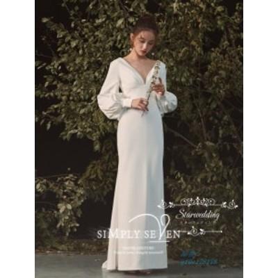 ウェディングドレス ウエディングドレス ロング丈 結婚式 ドレス お呼ばれ 韓国風 秋冬 シンプル 長袖 着痩せ セクシー 2020新作 シ