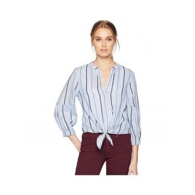 Michael Stars ミッシェルスターズ レディース 女性用 ファッション ブラウス Stripe Shirting Tie Front Top - Stream