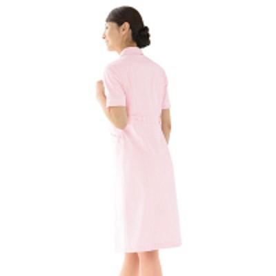 KAZENKAZEN ワンピース半袖 (ナースワンピース) 医療白衣 ピンク×ホワイト 3L 020-24(直送品)