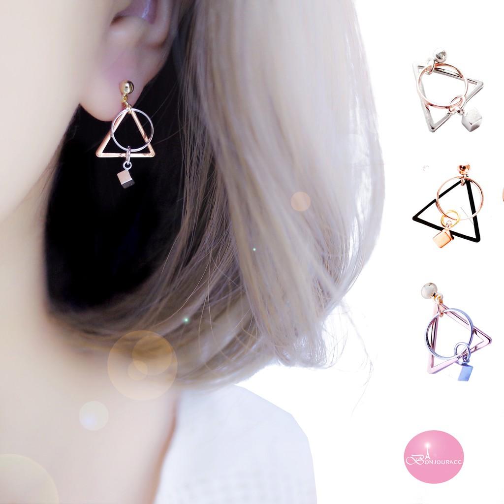 韓國小三角幾何耳環 夾式 針式 925銀針  【Bonjouracc】