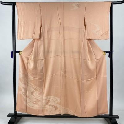 付下げ 美品 優品 流水 七宝 金彩 刺繍 サーモンピンク 袷 身丈157cm 裄丈62cm S 正絹 中古