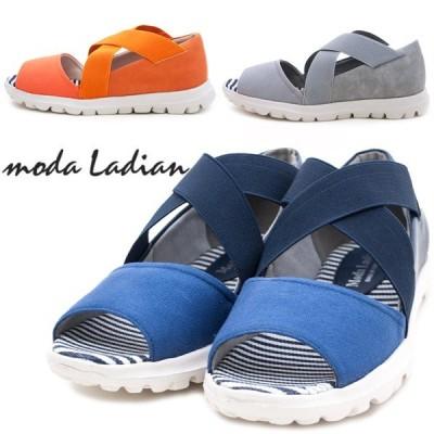 Moda Ladian 7149 レディースサンダル カジュアル ローヒール オープントゥ ウェッジソール 歩きやすい ネイビー グレー オレンジ /ST