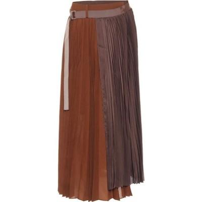 サカイ Sacai レディース ひざ丈スカート スカート Pleated Asymmetric Midi Skirt Brown