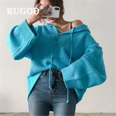 レディースファッション RUGOD Insルーズソリッドニットレディースセーター韓国語Vネックレースアッププルオーバースウェーターフード付き女性inv