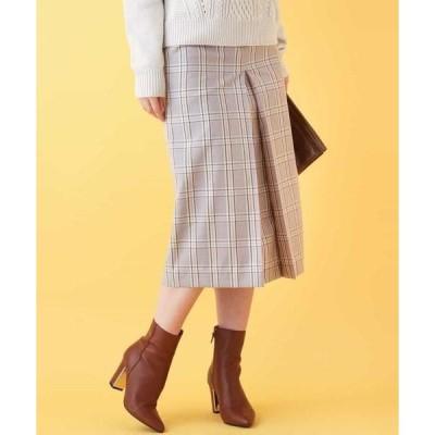 MK MICHEL KLEIN / エムケーミッシェルクラン 【洗濯機で洗える】チェック柄インバーテッドプリーツスカート