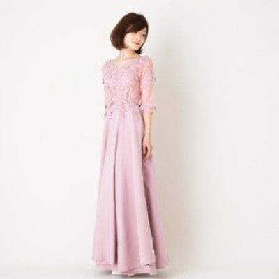 ロングドレス イブニング パーティー 七分袖 演奏会 発表会 ピアノ 結婚式 二次会ピンクSサイズ